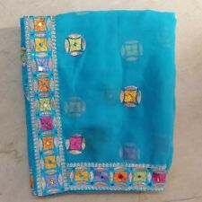 """Indian Exotic Dupatta Scarf Sequins Beaded Embroidered Georgette Veil Stole L"""""""