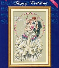 Happy Wedding World famous tale Counted Cross Stitch Kit 14CT 35cm x 54cm new