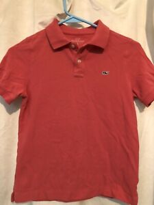 Vineyard Vines Target Boys Salmon Pink Whale Logo Polo Shirt Size 6-7 Small