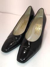 Ferragamo Black Patton Leather Pumps Heels Women's Size 8