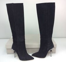 Racine Carree 105mm Knee High Boot Metal Heel Black Suede Size 37 M