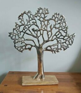 Silver Metal Tree of Life on Wooden Base Vintage Sculpture Ornament 35cm New