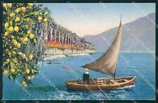 Brescia Gardone Riviera Barca Lago Garda cartolina QT4757