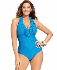 4d7c5540be7 Kenneth Cole Womens 3547 Knit Halter Swimsuit One-piece Plus 2x