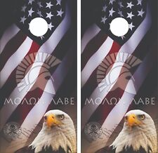 Molan Labe 2nd Amendment Flag Cornhole Board Skin Wrap Decal SET - Laminated