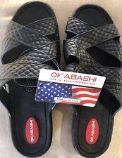 Okabashi Women Cross Strap Black Sandal Slides Ergonomic Strappy Size M 6.5-7.5