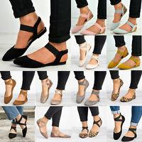 Women Soft Ballerina Ballet Flats Shoes Ladies Summer Elastic Strap Casual Shoes