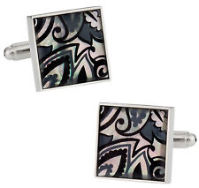 Genuine Mother of Pearl Black Gray Cufflinks Direct from Cuff-Daddy
