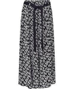 Womens Summer Floral Print Skirt elasticated waist 31 inch length with tie belt