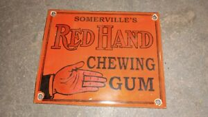 """Porcelain Red hand Enamel Sign Size 4"""" X 4"""" Inches"""