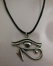 A Wax Cord Tibetan Silver EGYPTIAN EYE of RA or HORUS  Charm Pendant Necklace