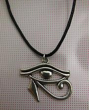 A Wax Cord Tibetan Silver EGYPTIAN EYE of RA or HORUS  Charm Pendant Necklace