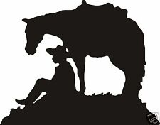 Cowboy Sitting With Horse Decal Car Or Wall Decor