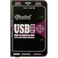 Radial Engineering USB-Pro Stereo USB Laptop Direct Box DI New