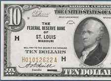1929  $10 FRBN  ♚♚ ST. LOUIS ♚♚   PCGS CH ABOUT NEW 58
