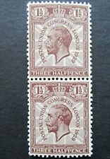 GB GEORGE V SG3436 1929 1 1/2d BROWN POSTAL UNION CONGRESS PAIR MNH STAMPS.