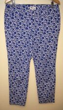 Old Navy Floral Print Pixie Ankle Pants White Blue Size 12