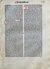 Incunabula Quire,8 Leaves,Latin Bible,Ecclesiasticus 8-44,handdp.Init.1484