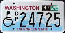 """WASHINGTON """" EVERGREEN STATE - HANDICAPPED """" 2014 WA Specialty License Plate"""