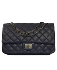 NEW CHANEL Navy blue Quilted Maxi DOUBLE flap bag w/ Silver hardware