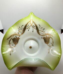 Antique Victorian Glass Folded Bridal Basket Bowl Green Opalescent w/ Gold motif