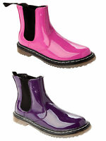WOMENS PATENT FUNKY GOTH ELASTIC PULL ANKLE CHELSEA BOOTS SHOES LADIES SIZES 3-8