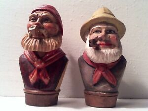2 VINTAGE WOOD CARVED BOTTLE CORK STOPPERS - 2 BEARDED MEN SMOKING PIPES - MAN