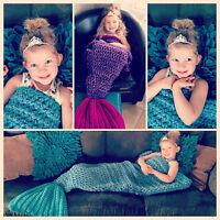Super Soft Handmade Crocheted Mermaid Tail Blanket Sofa Children Kids Blanket