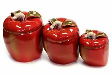 Vintage Tuscan Style Glazed Red Apple Canister Set with Lids & Seals Slants EUC