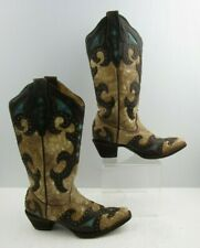 Ladies Corral Brown / Blue Leather Pointed Toe Western Cowgirl boots Size : 6.5M