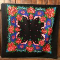 big Vintage shawl,Russian shawl,Floral shawl,wool shawl,Retro Russian shawl,USSR