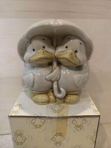 NEW Vintage Andre Richard Japan Porcelain Ducks Under Umbrella Toothbrush Holder