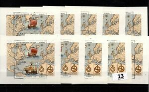 / 10X ICELAND 1992 - MNH - EUROPA CEPT - SHIPS - COLUMBUS