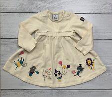 Baby Girl Polarn O. Pyret Size 68 / 4-6 M Beige Birthday Print Dress