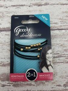 Goody Double Wear Floating Beaded Elastics Ponytailer ~ Goldtone FREE SHIPPING