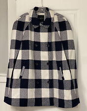 Nwt Talbots 2X/3X Cream And Navy Buffalo Plaid Double Breasted Cape Coat