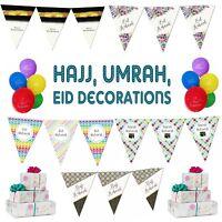 Eid *HAJJ* Umrah Mubarak Party Decorations Banner Balloons Flags Bunting Cards