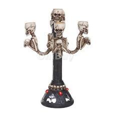Resin Skull Candelabra Floor Lamp Table Centrepiece 4-arm Candlestick Holder