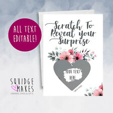 Surprise Scratchcard personalised pregnancy birthday wedding announcement reveal