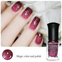 6ml Red Sequins Thermal Color Changing Peel Off Nail Art Polish Varnish
