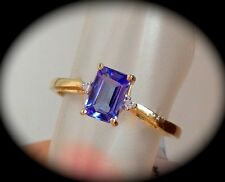 AA TANZANITE & DIAMOND RING 9K Y GOLD 'Q''CERTIFIED' OCTAGON CUT FAB COLOUR!