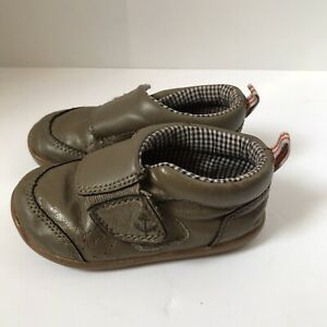 Infant Carter's Brown Leather Blue Check Walking Crawl Strap Shoes Size 6