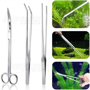 New 3PCS Aquarium Tool Kit Aquatic Plant Tweezers Scissors Tank Set Starter Kits