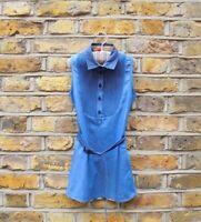 BURBERRY Girls Blue Belted Sleeveless Denim Dress Size 6 Years Old Nova Check