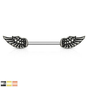 Angel Wings Nipple Bar With 316L Surgical Steel Barbell