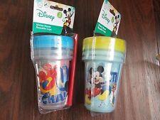 DISNEY Baby/Kids MICKEY MOUSE 6 Reusable 10 oz  CUPS w/ STRAW~BPA Free