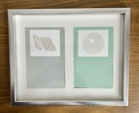 """Seashell Prints 8"""" x 10"""" Silver Plastic Frame With Glass 2 Pictures 3.5"""" X 5.5"""""""