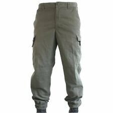 Used Olive Austrian Army Combat Trousers, Ripstop Poly Cotton, Lightweight 34S