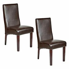 Set of 2 Rome Leather Brown Dining Chairs Durable Seat Wood Kitchen Cafe