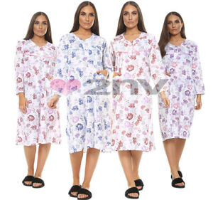 Womens Night Gown Floral Nightie 100% Soft Cotton Plus Size Long Sleeve Nightie